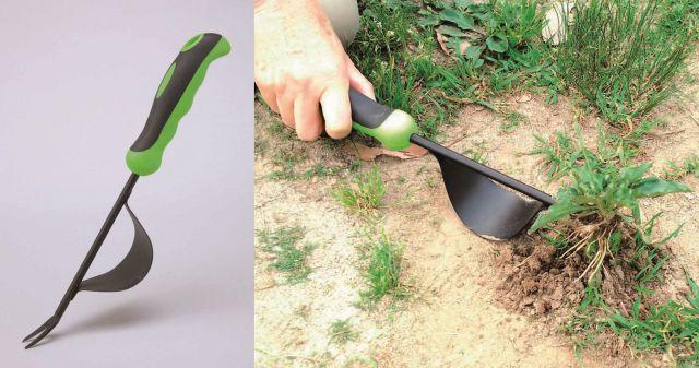 コモライフが販売している「草抜きフォーク」。てこの原理で雑草を引き抜く。同社は、こうしたアイデア商品を、数多く世に送り出してきた。