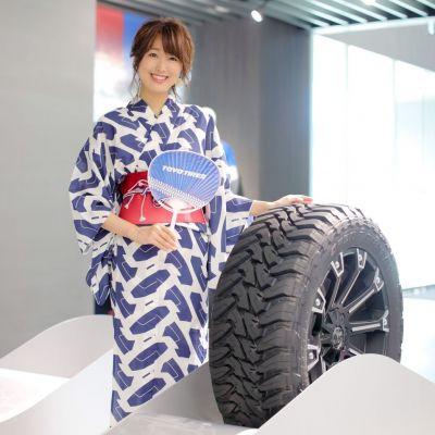 タイヤのトレッドパターンを使った浴衣