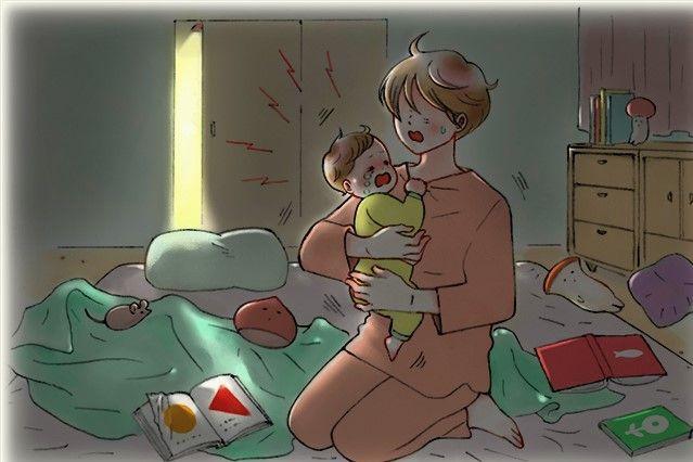 夜中何度も起きて泣きぐずる息子にヘトヘトに=イラスト・minchiさん