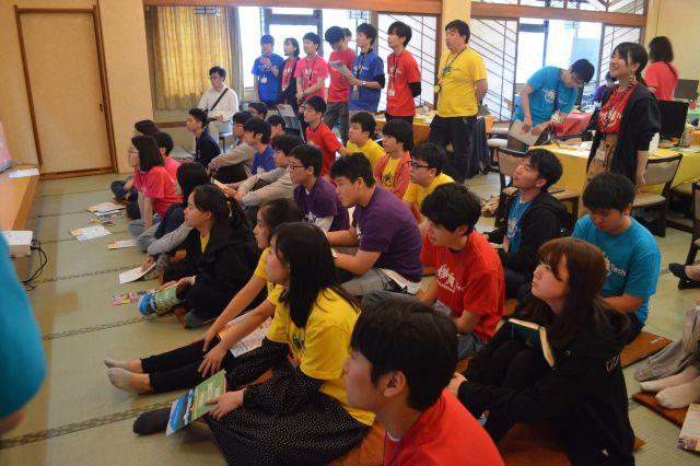 ワークショップ「Life 伊豆 Tech!」に集まった中高生やメンターたち=静岡県伊豆の国市の伊豆長岡温泉