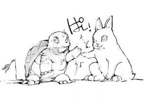 現代版「ウサギとカメ」=熱い友情物語 互いの長所で狩人を追い払う