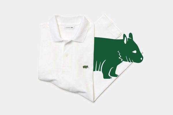 銀座店で販売されるキタケバナウォンバットのポロシャツ。販売数は、国際自然保護連合の専門家が算出した野生での生息数と同じ数だけ販売される