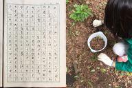 産休に入る教師に向けてmghnsosさんの娘が書いた日記(左)と、虫探しをしている娘