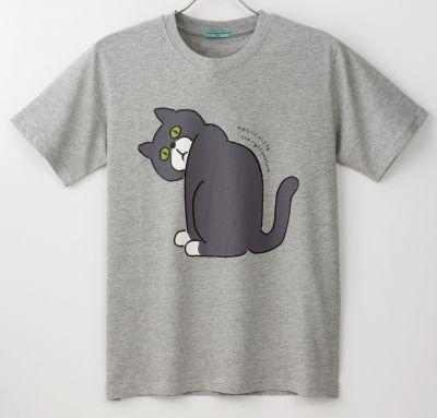 マホの見過ぎで猫背になる人をモチーフに猫の背中を描いたTシャツ
