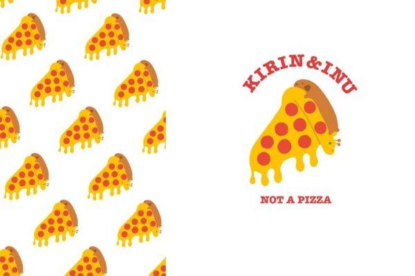 ピザとみせかけてキリン&イヌ柄