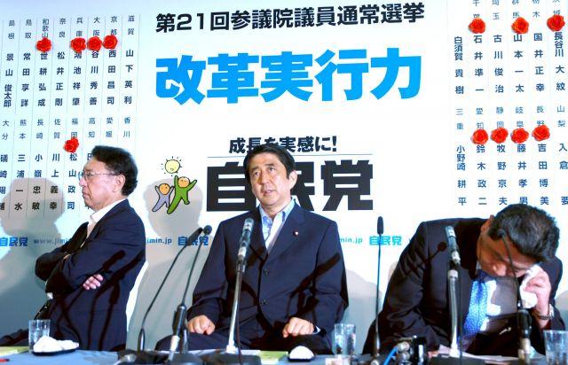 2007年7月、惨敗した参院選について自民党本部で質問に答える総裁の安倍首相(中央)。左は丹羽雄哉総務会長、右は中川秀直幹事長