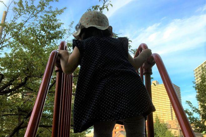 単身赴任中の週末に帰宅した際、知らない間に長女が1人ですべり台の階段をのぼれるようになっていた。驚き、思わず写真を撮った=2018年8月