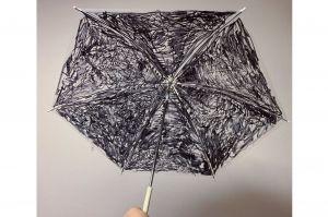 小2がビニール傘をアートに 油性ペンでスプラトゥーンの武器を意識