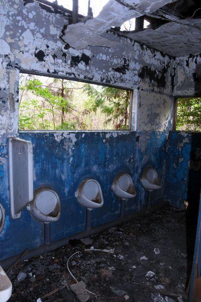 トイレの壁も焼けた跡が残る=2019年4月8日、茨城県筑西市新井新田