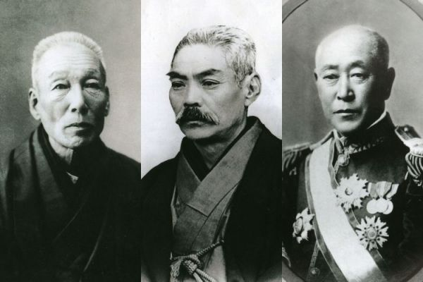 小岩井農場の設立に関わった3氏。左から小野義眞、岩崎彌之助、井上勝