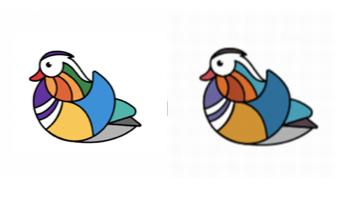 当初のビビッドなカラー(左)から日本オフィスの要望を受けて抑えめの色合いになったオシドリ=Twitter Japan社提供