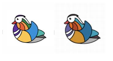 今年の「#世界絵文字デー」につくオシドリの絵文字。当初のビビッドなカラー(左)から日本オフィスの要望を受けて抑えめの色合いになった