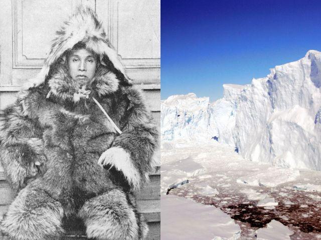 (左)日本人初の南極探検家・白瀬矗(のぶ)陸軍中尉=白瀬南極探検隊記念館の提供。(右)白瀬さんの名を冠した南極の白瀬氷河=代表撮影