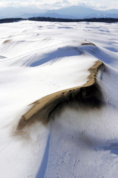 雪景色になった鳥取砂丘=2005年12月14日、鳥取市で
