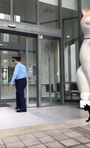 ケンちゃんと警備員の攻防のワンシーン