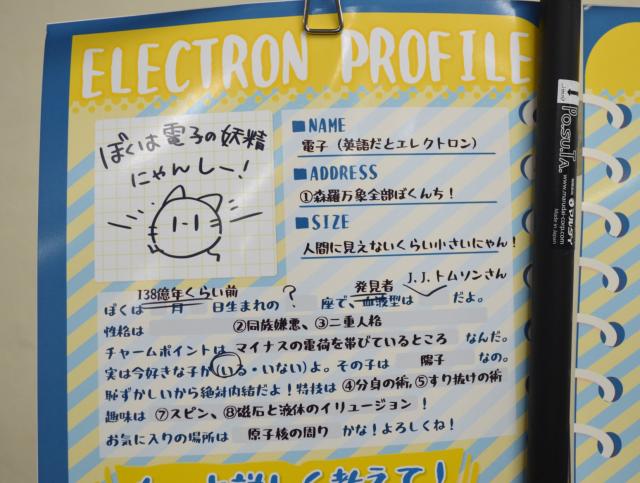 電子を猫「にゃんしー」として性質を紹介