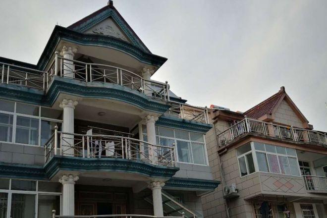 中国の揚子江デルタ地域の農村に並ぶ豪邸=浙江省嘉善県