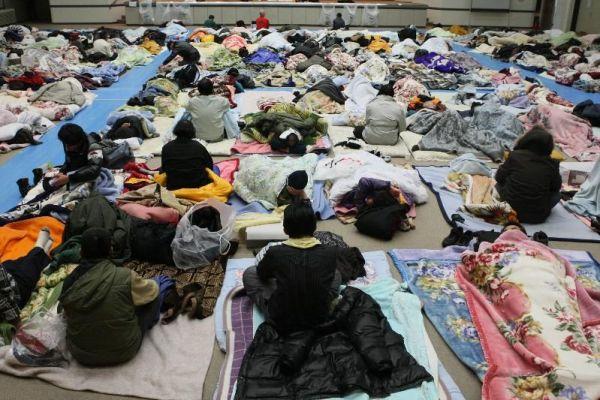 日比谷公園から厚労省の講堂に移動、布団を並べて休む元派遣労働者たち=2009年1月2日