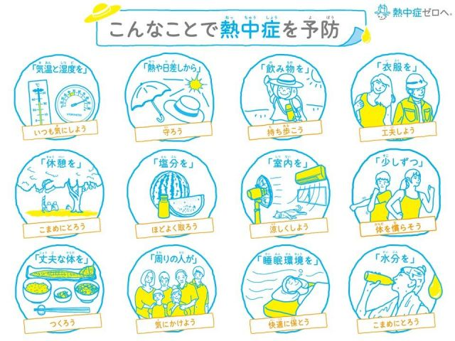 熱中症の予防法一覧。適度に休んだり、水分をとったりすることが、暑さから体を守る方法だ。