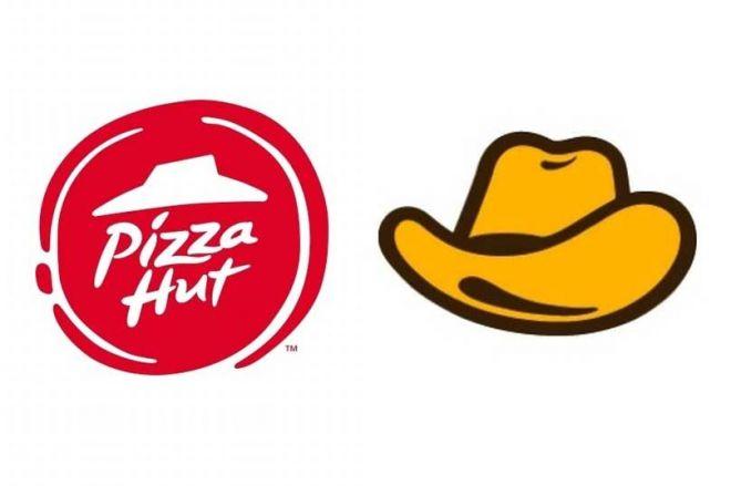 ピザハットのロゴ(左)とイエローハットのロゴ(右)