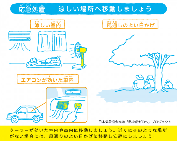 クーラーの効いた室内や、木陰など、涼しい場所に移動するのも重要だ。