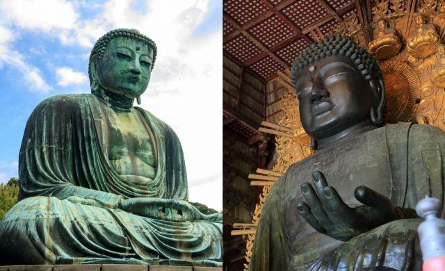 鎌倉の大仏(左)と奈良の大仏。