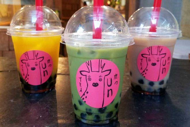 タピオカドリンク「鹿のUnTEA(ウンティー)」。抹茶、ミルクティー、マンゴー、コーヒーの全4種類があり、お値段は各600円です