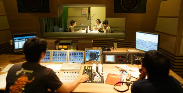 TBSラジオ「星のギガボディ」収録の様子=瀬戸口翼撮影