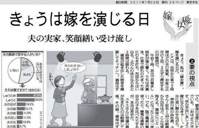 「嫁女優」を取り上げた8年前の朝日新聞記事。当時と状況は変わっていないと感じる
