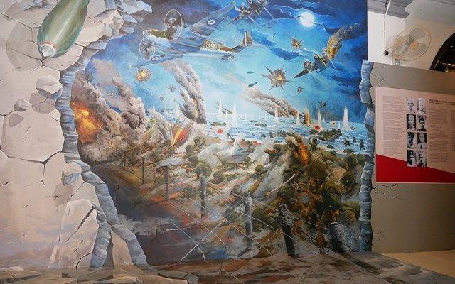 マレーシア・コタバルにある博物館に展示されている、日本軍の上陸の様子=2019年8月