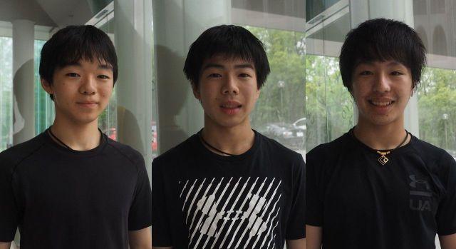 左から鍵山優真、佐藤駿、三浦佳生