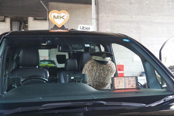 オオサンショウウオのぬいぐるみを乗せたタクシー