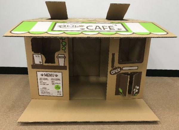 段ボールが「猫カフェ」に変身