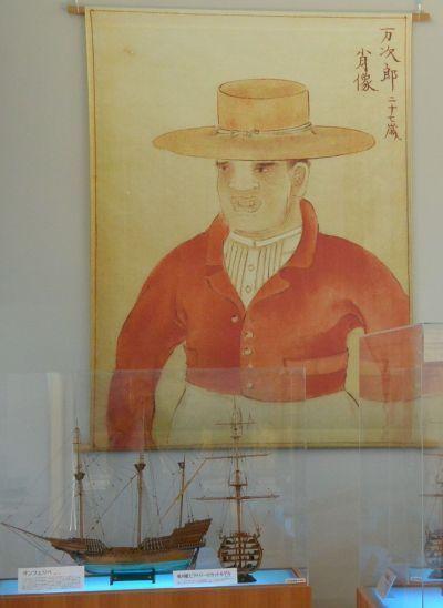 27歳の万次郎の肖像画(複製)。ゴールドラッシュのころの格好らしい。ジョン万次郎資料館に展示されている=2015年
