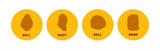左からベル、ブーツ、ボール、ボーン