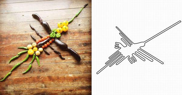 左が「ナス科の地上絵」、右が「ナスカの地上絵」のハチドリ