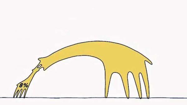「キリンのような生き物」が登場する動画の一場面
