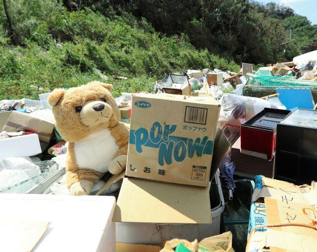 台風15号の影響で出た災害廃棄物の中には、ぬいぐるみもあった=2019年9月17日午前11時7分、千葉県鋸南町岩井袋、江口和貴撮影