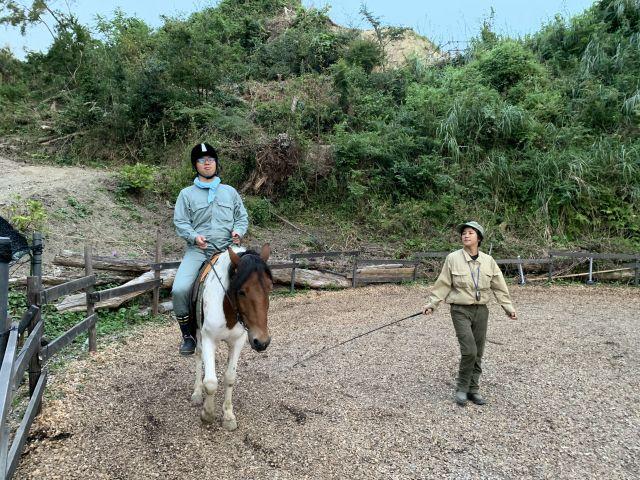 作業終了後に乗馬をさせていただいた