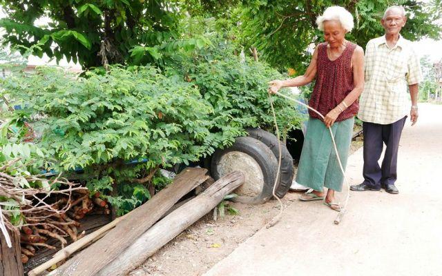 アヌチャー君が使っていたという、自作のトレーニング器具。練習は毎日欠かさなかったという=2019年6月、タイ東北部カラシン県