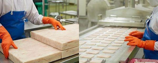 冷凍したフィッシュブロックをタイの工場で金属探知機で検査。その後、フィッシュポーションの形状にカット