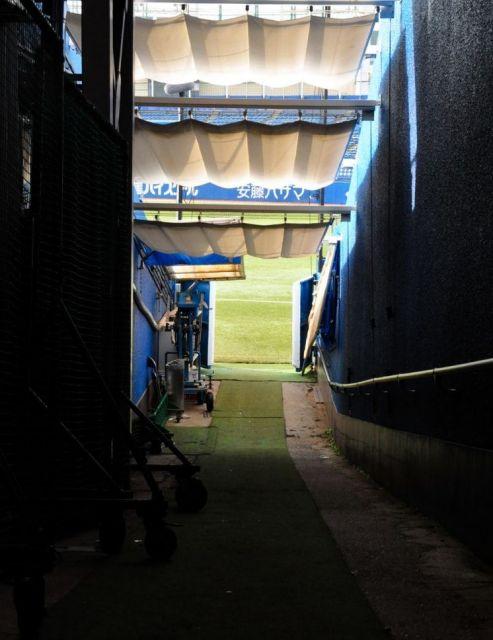 「荒木トンネル」を出ると、目と鼻の先に神宮球場一塁側ファウルグラウンドへの入り口がみえる。荒木投手もここからグラウンドへ向かった=2019年8月、東京都新宿区、榊原謙撮影