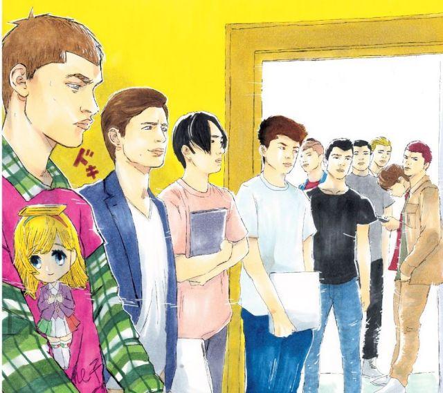 「ミンゴ イタリア人がみんなモテると思うなよ」より(第1巻12月12日発売)。左端が主人公の「ミンゴ」