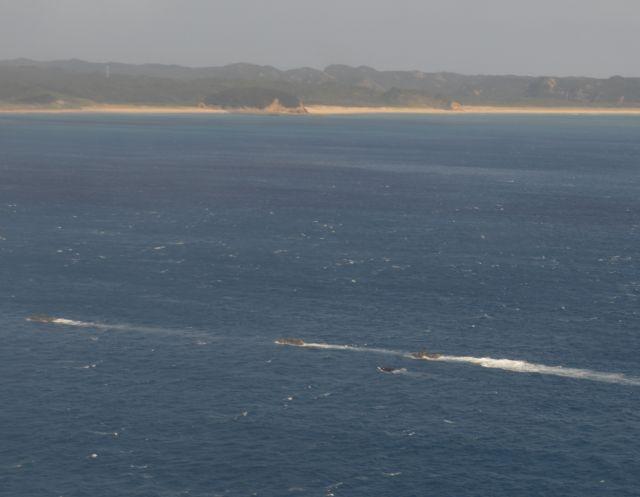 鹿児島県・種子島南端の前之浜へ一列で向かう陸自の水陸両用車=11月14日正午ごろ、太平洋上の陸自ヘリCH47機中より