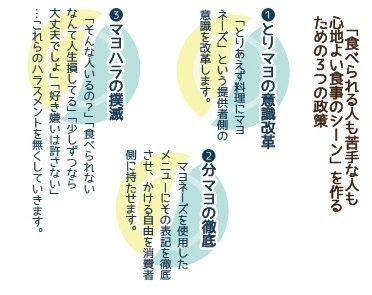 ストップ・マヨハラ党が目指す三つの政策=戸澤遥さん提供