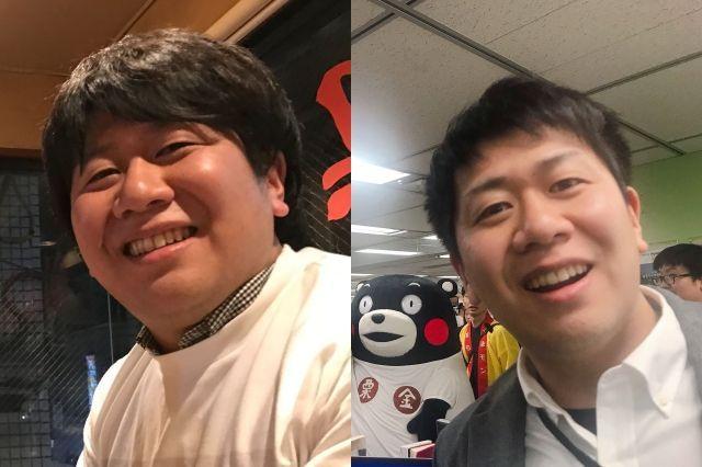 左:やせる前の記者、右:やせた後の記者