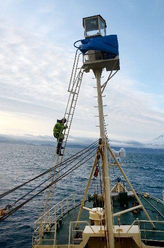 クジラを探すため高さ18メートルの見張り台に上る乗組員。命綱はつけない=2019年7月24日、ノルウェー領ヤンマイエン島沖
