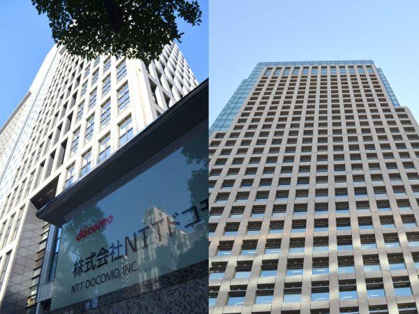 NTTドコモ本社(左)とKDDI本社