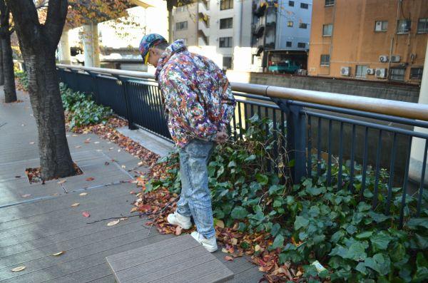どうにか光らせられないか私が試行錯誤していたら、山下さんは落ち葉に興味がいってしまった