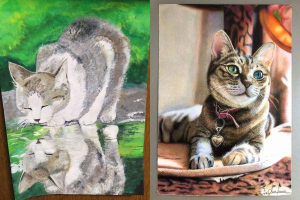 左が中3の時、右が高3の時に描いた作品